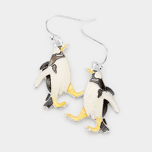 Enamel Penguin Dangle Earrings