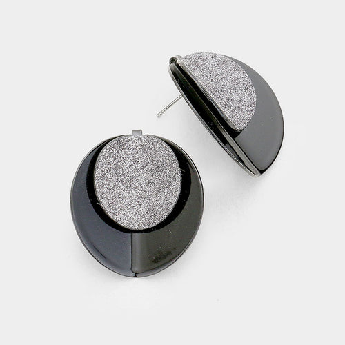 Layered Shimmering Fold Round Disc Stud Earrings