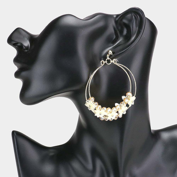 Layered Double Metal Open Hoop Flower Cluster Earrings