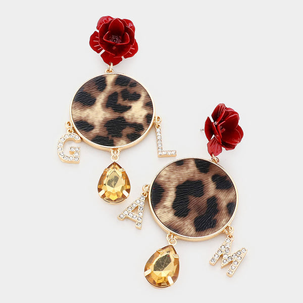 Rose Leopard Glam Dangle Earrings