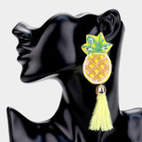 Beaded Pineapple Fringe Feather Earrings