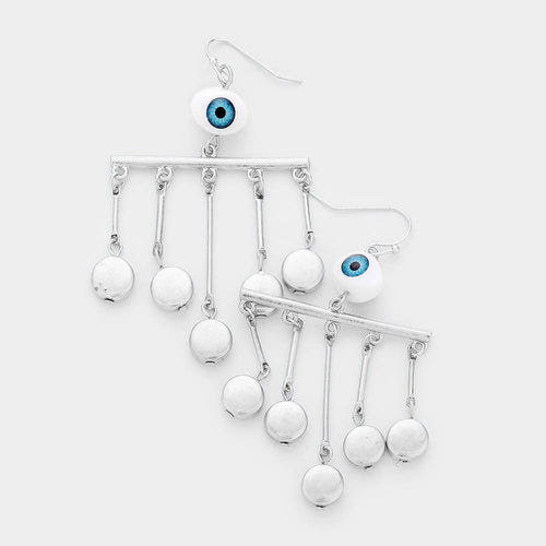 Geometric Evil Eye Dangle Earrings