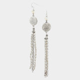 Hammered Disc Chain Tassel Tribal Drop Earrings