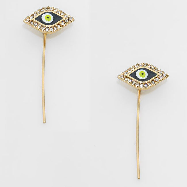Crystal Accented Enamel Evil Eye Ear Pin Earrings