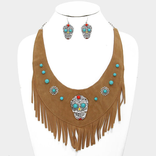 Day Of The Dead Mexican Sugar Skull Suede Fringe Bib Necklace