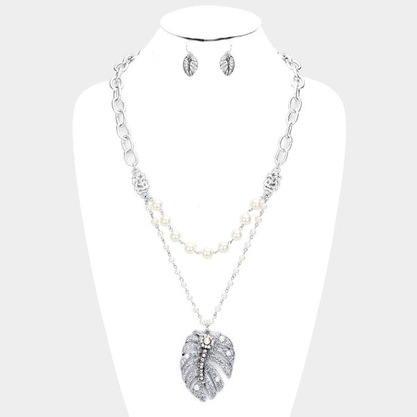 Double Strand Pearl Tropical Leaf Pendant Necklace