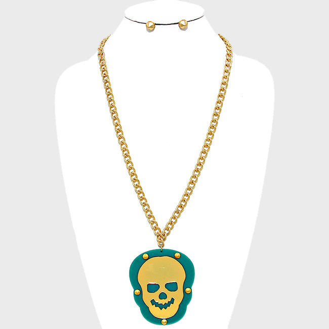 Skull Rivet Plate Pendant Necklace