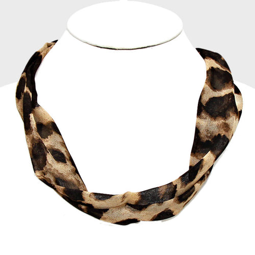 Leopard Patterned Fabric Necklace