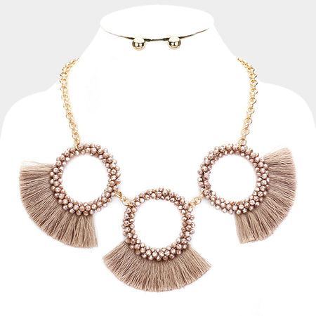 Circle Chain Fringe Metal Drop Earrings