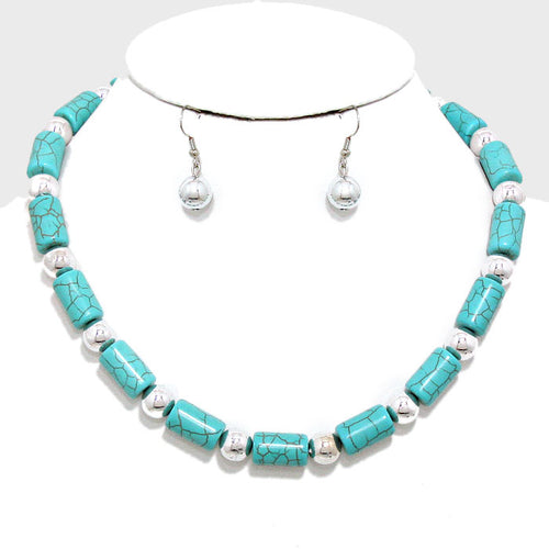 Metal Ball Accented Turquoise Strand Necklace