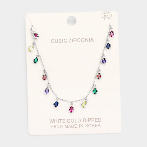 White Gold Dipped Cz Teardrop Collar Necklace