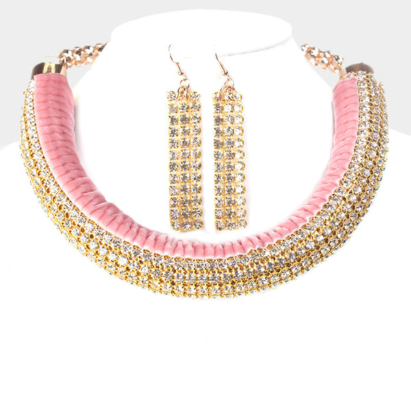 Reversible Curved Stone Pave & Velvet Necklace