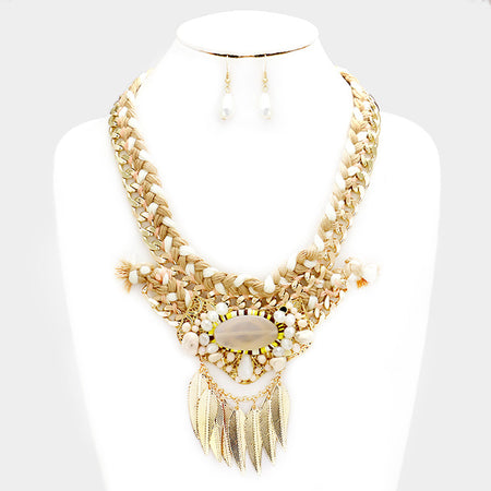 Gold with Turquoise Graduated Pearl 5 Strand Layered Necklace Set