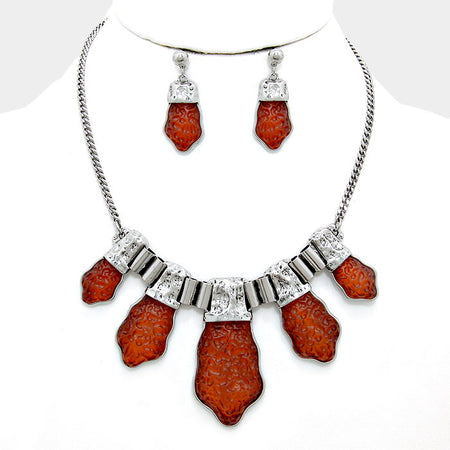 Glass Crystal Teardrop Cluster Vine Evening Necklace