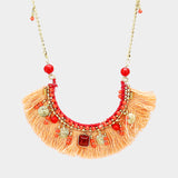 Multi Bead Detail Thread Fringe Long Necklace
