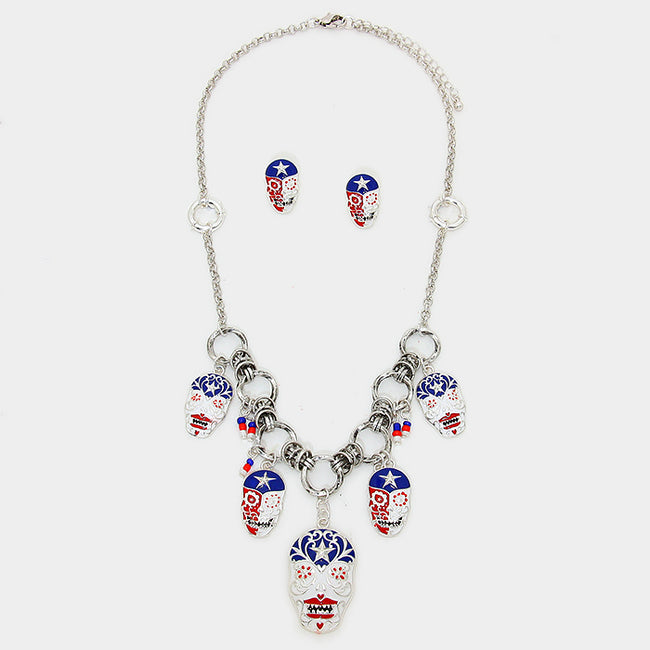 American Flag Day Of The Dead Mexican Sugar Skull Charm Link Necklace