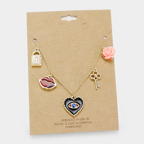 Evil Eye Heart Rose Lips Key Lock Charm Necklace