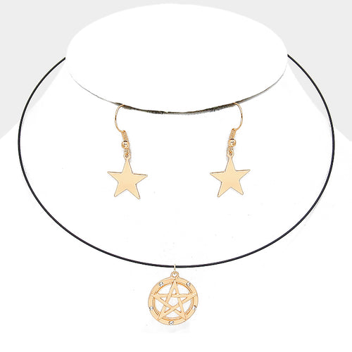 Crystal Detail Star Pendant Wire Choker Necklace