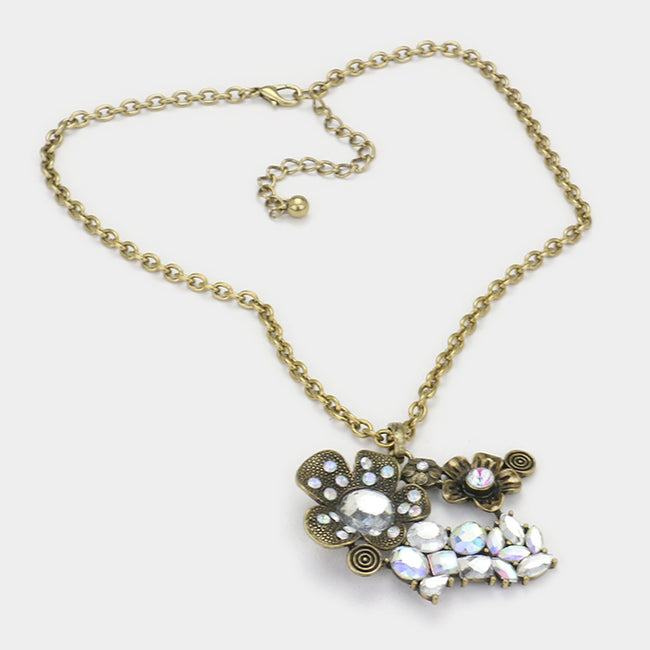 Double Flower & Crystal Pendant Necklace