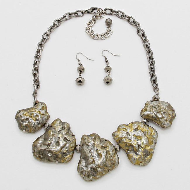 Metal Nuggets Statement Necklace