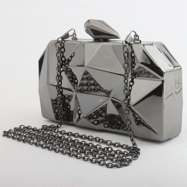 Unique Metal Hexagon Clutch Bag