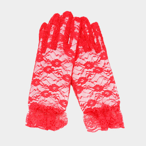 Dressy Floral Lace Wedding Gloves