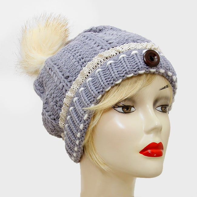Button Accented Winter Knit Pom Pom Beanie Hat