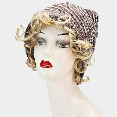 Circular Striped Polyester Beanie