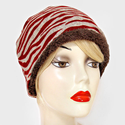 Fleece Lined Zebra Print Snood Beanie Hat