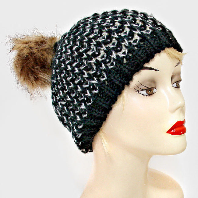 Chunky Two Tone Knit Pom Pom Hat