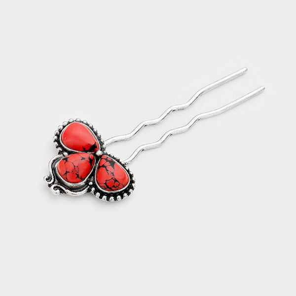 Tribal Triple Teardrop Red Coral Hair Comb Pin