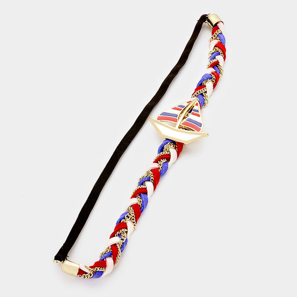 Braided Faux Suede & Striped Sailboat Stretch Headband