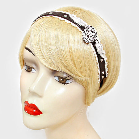 Metal Spike Studded Faux Leather Stretch Headband
