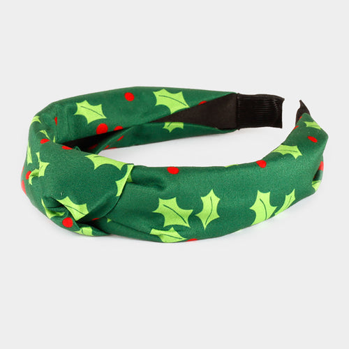 Green Poinsettia Leaf Burnout Knot Headband