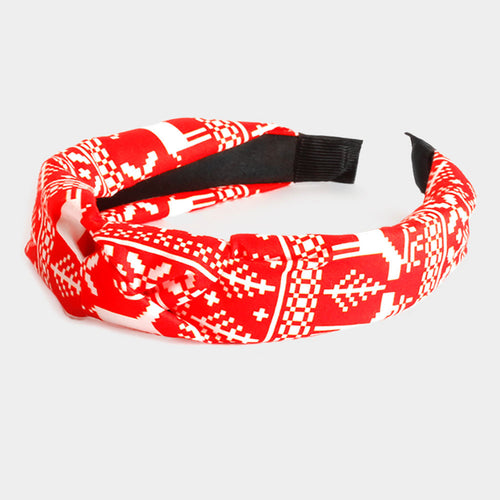 Red Rudolph Christmas Tree Burnout Knot Headband