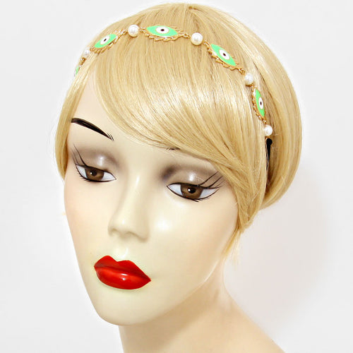 Green Evil Eye Metal Headband