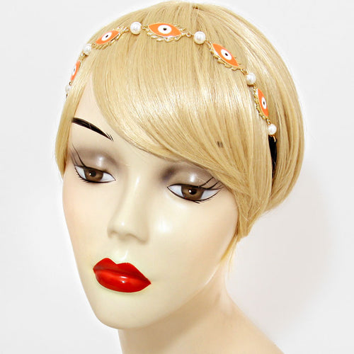 Orange Evil Eye Metal Headband