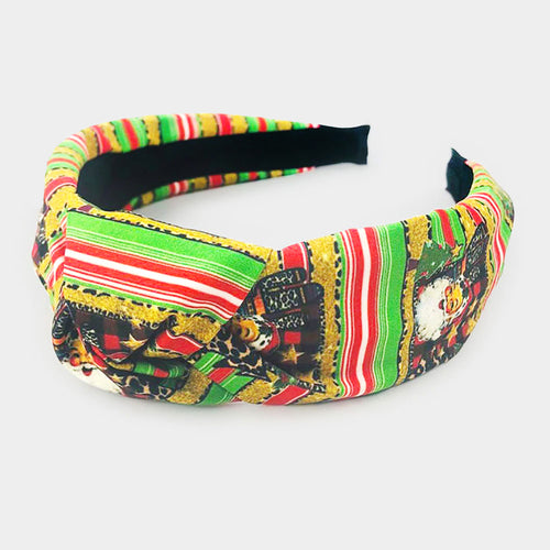 Colorful Christmas Theme Print Fabric Burnout Knot Headband