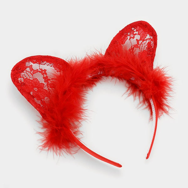 Cat Ears Fur Lace Headband