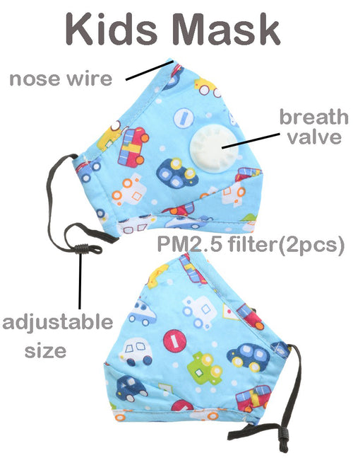 Blue 100% Cotton Kids Mask - 1pc