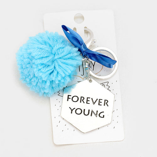 Forever Young _ Hammered Metal & Yarn Pom Pom With Ribbon Keychain