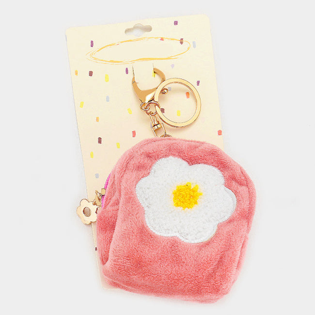 Flower Faux Fur Backpack Keychain