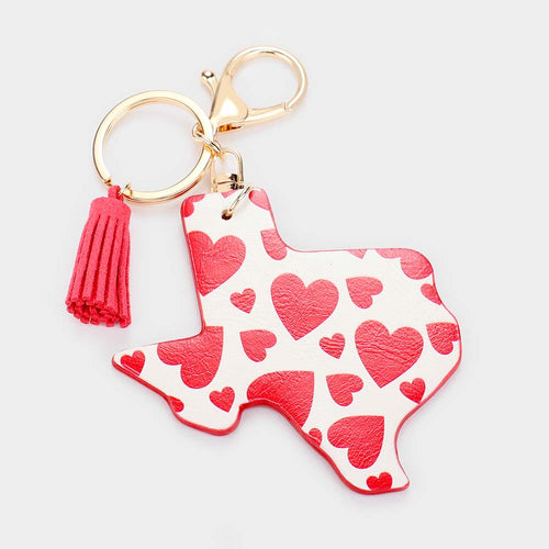 Valentines Heart Texas Faux Leather Key Chain