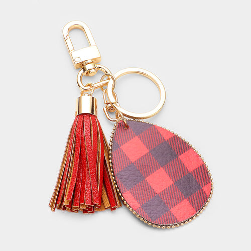 Buffalo Check Print Faux Leather Teardrop Tassel Key Chain
