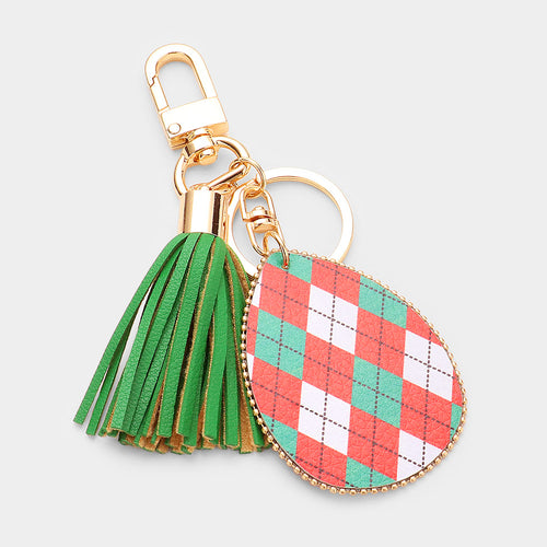 Argyle Check Print Faux Leather Teardrop Tassel Key Chain