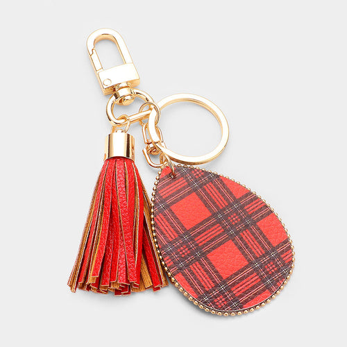 Tartan Check Print Faux Leather Teardrop Tassel Key Chain