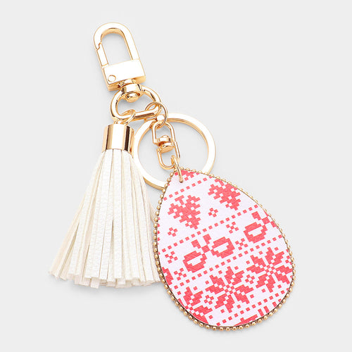 Christmas Pattern Print Faux Leather Teardrop Tassel Key Chain