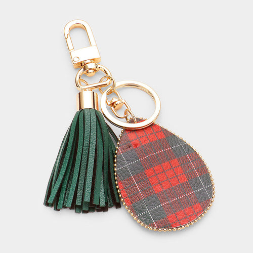 Plaid Check Print Faux Leather Teardrop Tassel Key Chain