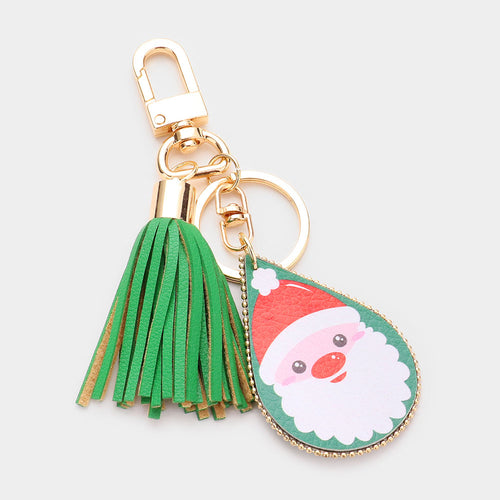 Santa Claus Print Faux Leather Teardrop Tassel Key Chain