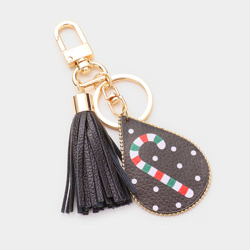 Candy Cane Print Faux Leather Teardrop Tassel Key Chain